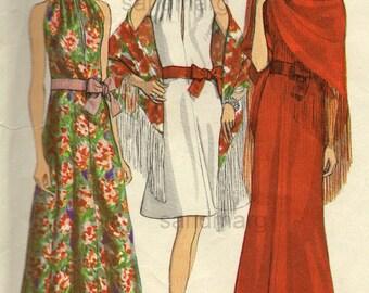 Vintage Vogue Paris Original 2230 Christian Dior Red Carpet Evening Dress with Stole Sewing Pattern Size 12