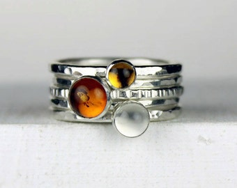 Hammered Silver Stacking Rings with Amber, Citrine and Moonstone, Stackable Gemstone Rings