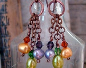 Multi Color Genuine Pearl Dangle Earrings Antique Copper Hammered Handmade Ear Wires