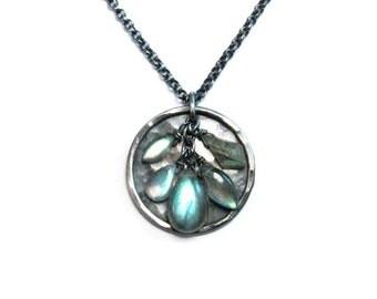 Labradorite Necklace in Oxidized Silver - Short or Long Pendant Necklace - Green Blue Labradorite Disc Pendant