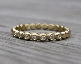 Diamond Seedling Wedding Band: Rose, White, or Yellow Gold; 7 Canadian Diamonds