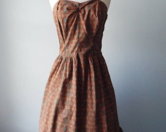 Sale Vintage 1950s Dress - Marvelous Green, Umber, Black and Tan Sundress with Bolero