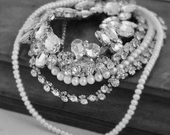 Rhinestone Bridal Necklace, Freshwater Pearls, Wedding Rhinestone Necklace, Wedding Jewelry, Bridal Jewelry,pearl jewelry