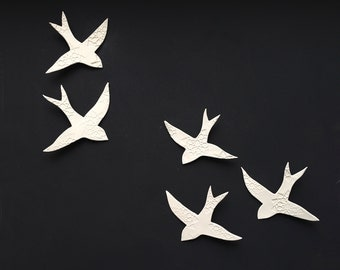 Porcelain wall hanging art sculpture Swallows over Morocco 5 White birds Handmade ceramic wall art Bathroom Hall Living room MADE TO ORDER
