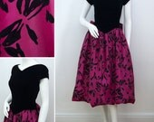 Vintage Evening Dress Lloyd Williams 1980s 80s Designer Party Gown Prom Dress Black and Pink Taffeta Style Velvet Petite Size Small XS UK 8