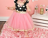 Pink and Gold birthday dress MINNIE MOUSE costume  dress TUTU  Party Dress  pink  and gold Polka Dots dress  Birthday party