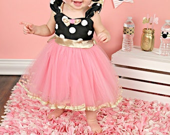 MINNIE MOUSE costume  dress TUTU  Party Dress  in black pink  and gold Polka Dots dress  Birthday party rose quartz dress