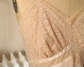 Frida   Vintage 1950s Seamprufe Nude Beige Full Nylon Slip with Lace Bust and Satin Detail