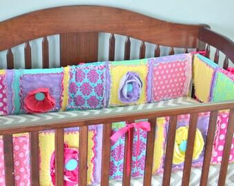 Crib Bumper Pads - Yellow / Purple / Turquoise / Pink Crib Bumpers - Girl Crib Bumper - Boho Nursery - Whimsical Nurseyr - Princess Nursery