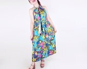 70s Bright Flowered Cotton Halter Wrap Maxi Dress by Design House S M