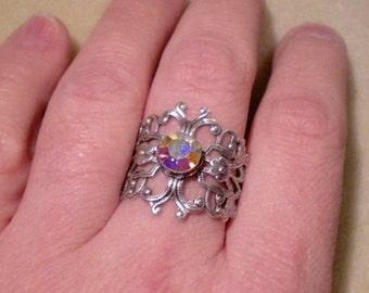 oO MEDIEVAL DIAMOND Oo Adjustable ox silver ring