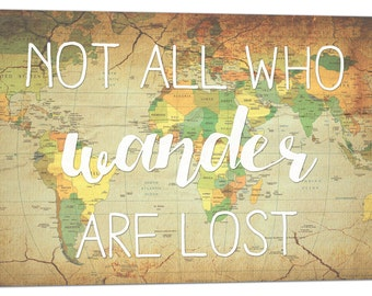 Stock Vintage World Map Not All Who Wander Are Lost Map Canvas Art  28x17 inches