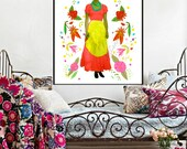 Frida Kahlo Poster Print Instant Digital Download Fabric Transfer Circle of Flowers Pink Green Yellow for Wall or on Fabric DIY Art Fashion