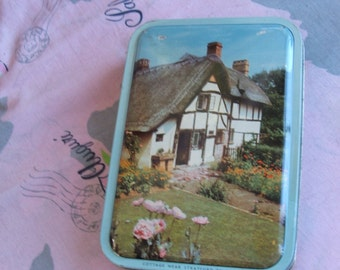 Vintage Fillerys Toffee Candy Tin English Cottage Stratford-on-Avon Birmingham England