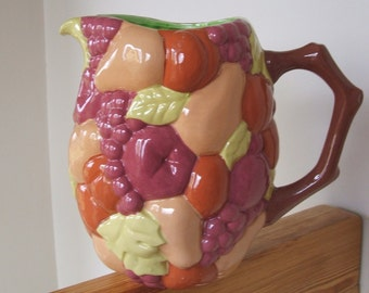 Vintage  Handmade Ceramic Pitcher with majolica fruit motif