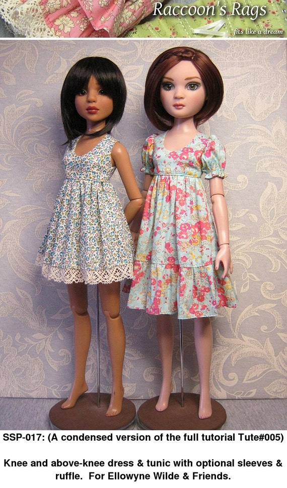 """Straightforward Sewing Pattern- SSP-017: (SSP version of TUTE#005)  Tunic & dress for 16"""" Ellowyne Wilde and friends, Luts Kid Delf."""