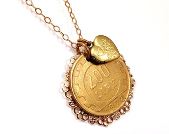 Italian lire coin necklace with heart locket, Labor of Love