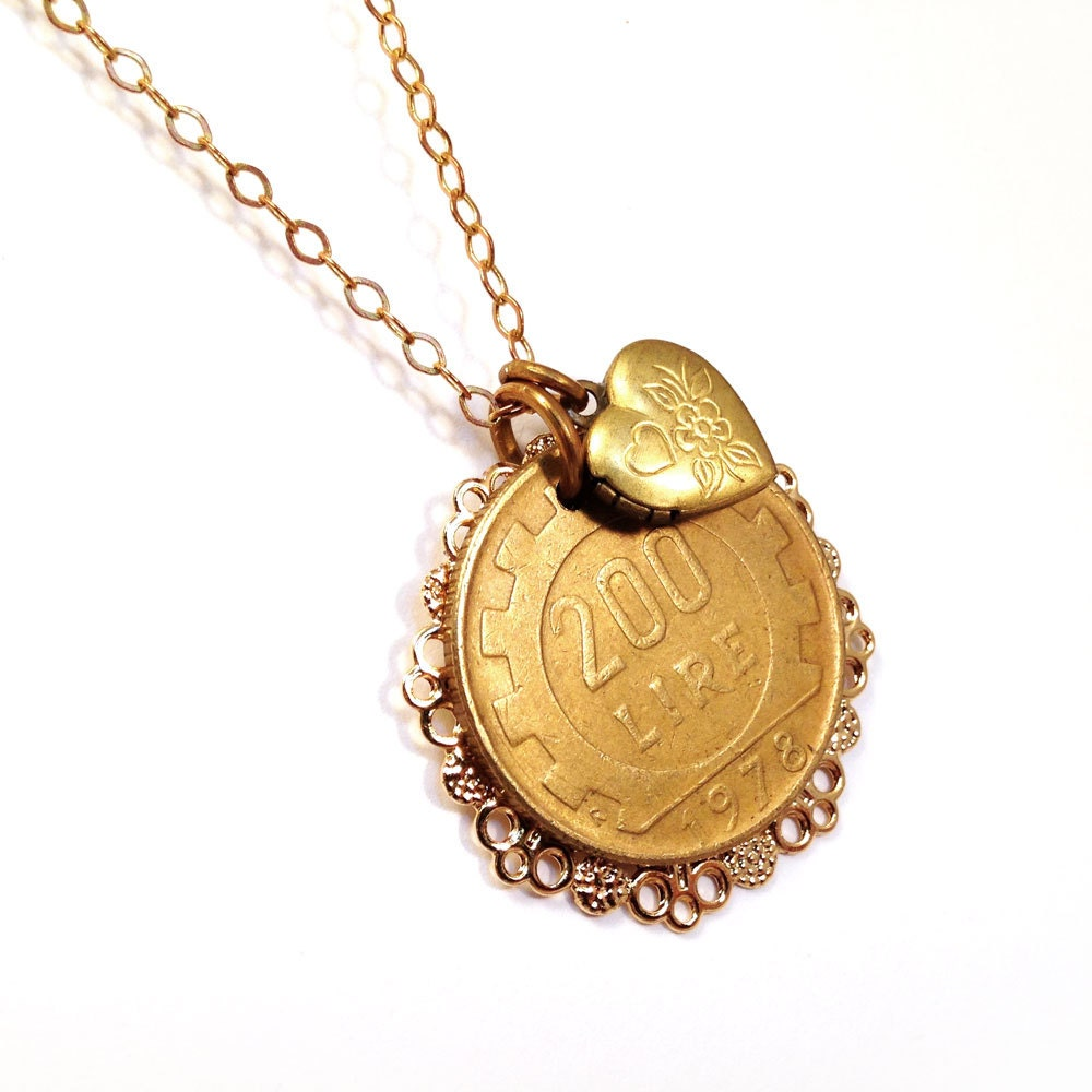 italian lire coin necklace with locket labor of