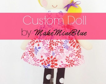 CUSTOM Options  - DO NOT purchase listing - Fabric Stuffed Doll, Cloth Rag Doll,  Handmade Stuffed Doll - Custom Doll Options