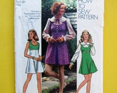 Simplicity 5424 Vintage Young Junior/Teen and Misses Mini-Dress or Mini-Jumper and Blouse Size 16, Bust 38