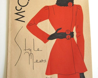 1930's Vintage Sewing Pattern Catalog Booklet McCall Style News September, 1936 ORIGINAL