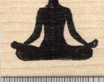 Accomplished Pose Rubber Stamp, Yoga Asana, Siddhasana D28019 Wood Mounted