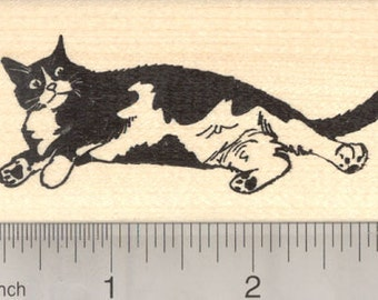 Black and White Cat Rubber Stamp J28209 Wood Mounted
