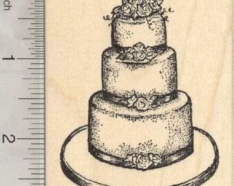 Wedding Cake Rubber Stamp K28301 Wood Mounted