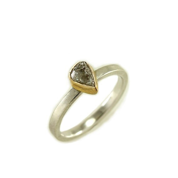 Raw Grey Diamond Engagement Ring 2mm wide Slim by MetalWendler