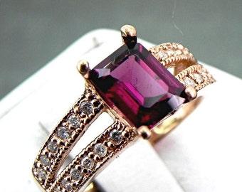 AAA Rhodolite Garnet Raspberry Red   2.06 Carats   14K ROSE gold diamond (.25ct) Ring 0990 MMM