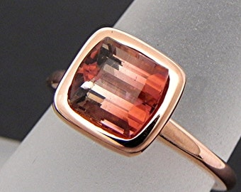 AAAA Cushion Cut Natural Untreated Bi color Bronze Tourmaline   7x7mm  1.88 Carats   in a 14K Rose gold Engagement ring. 2056 MMM