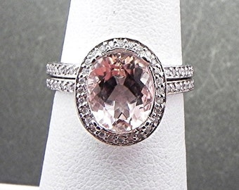AAAA Morganite in   10x8mm  2.47 Carats   14K White gold diamond halo bridal set(.50ct) 0980 B108 MMM