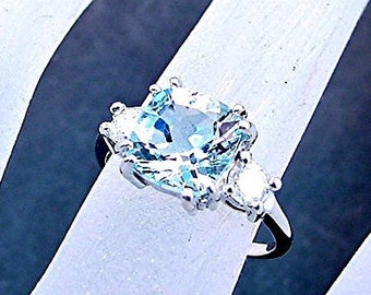 Aquamarine Cushion cut 7x7mm 1.48 Carat  set in 14K white gold Diamond ring .28ct 0305