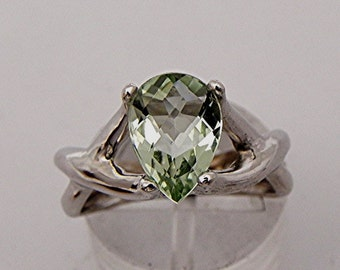 AAAA Natural Green Amethyst (Prasiolite) Pear shape checkerboard cut in 14K White gold Ring available 10x7mm, 12x8mm, 14x9mm  - ELKE- ring
