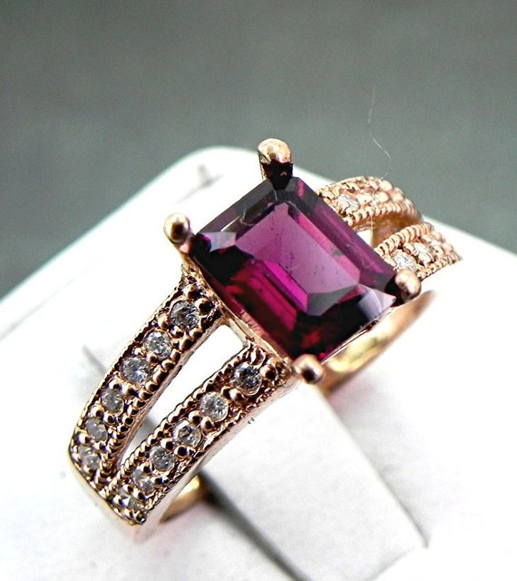 AAA Raspberry Red Rhodolite Garnet 2.06 Carat 14K ROSE gold diamond (.25ct) Ring 0990 MMM