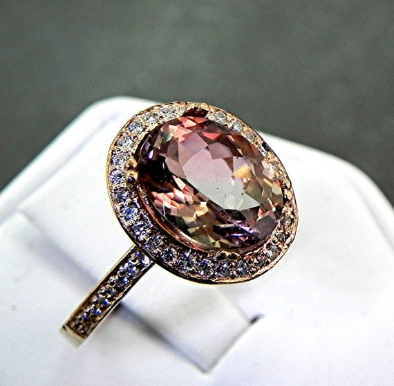 AAA Watermelon Tourmaline 3.30 Carats 10 X 8m. in a 14k ROSE gold ring with diamonds (.32ct) Ring 1134