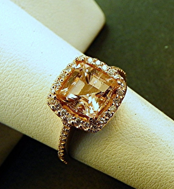 AAA Peach Morganite Natural   8x8mm  2.11 ct   Square Emerald cut in 14K Rose gold Halo ring with .30 carats of diamonds 1207 H001 MMM