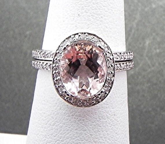 AAAA Natural Morganitein 2.47 Carat 10x8mm 14K White gold diamond bridal set(.50ct) 0980 B108 MMM