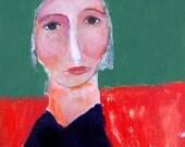 Digital Print. Fun Whimsical Girl & Bird Portrait Painting. Children's Room Decor