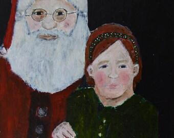 Acrylic Santa Claus Portrait Painting. Child's Room Holiday Art. Christmas Decor. Saint Nick Painting. Living Room Wall Decor.
