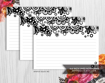 4x6 inch Lined Note Cards Printable DIY - 2 Designs - Black & White  -  INSTANT DOWNLOAD - Item 154C