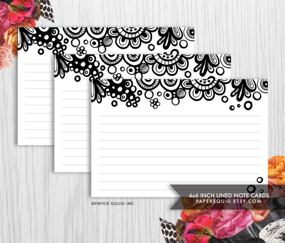 4x6 inch lined note cards printable diy 2 designs black