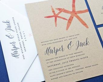 Harper Watercolor Coral Starfish Kraft Wedding Invitation - Rustic Beach Wedding Invitation