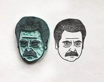 Ron Swanson Handmade Rubber Stamp