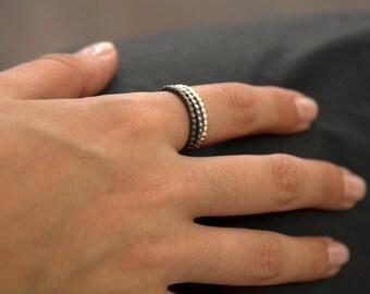 Oxidized Silver Wedding Bead Rings , Woman Wedding Ring Silver Bullet , Ball Wedding Ring , Classic Silver Wedding Ring , Black Wedding Ring