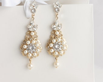 Gold Wedding Earrings Chandelier Bridal Earrings Gold Pearl Crystal Statement Earrings Vintage Wedding Jewelry VALETTA