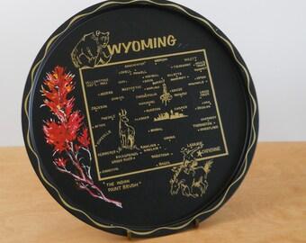 Vintage State Serving Tray • Vintage Wyoming Souvenir • Metal Serving Tray