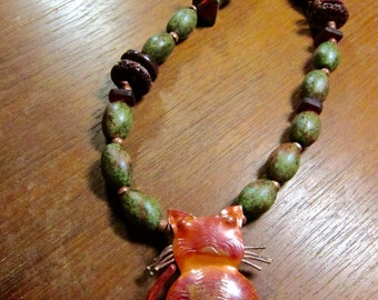 Copper Cat Necklace, Asymmetrical Cat Necklace, Earthy Green