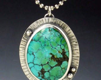 Large Turquoise Necklace, blue green turquoise, sterling and turquoise necklace
