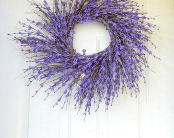 Purple Spring Wreath -  Summer Wreath - Purple  Forsythia -  Front Door Decoration